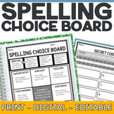 Spelling Choice Board | Editable