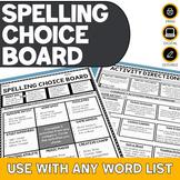 Spelling Choice Board   Editable