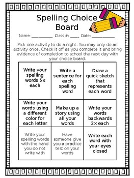 Editable choice boards teaching resources teachers pay teachers spelling choice board editable choice board template pronofoot35fo Choice Image