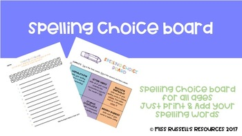 Spelling Choice Board FOR ALL AGES
