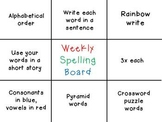 Spelling Choice Board for weekly homework
