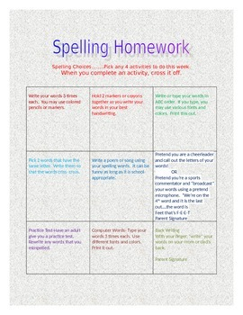 Spelling Choice Boards