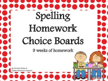 Spelling Choice Boards- 9 weeks