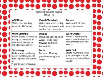 Spelling Choice Boards- 9 weeks