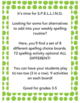 Spelling Choice Boards! BUNDLE (SET A+B) 8 Boards 72 diffe