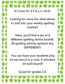Spelling Choice Boards! (SET A) 4 Boards 36 different activities