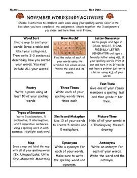 Spelling Choice Boards for November, December, and January