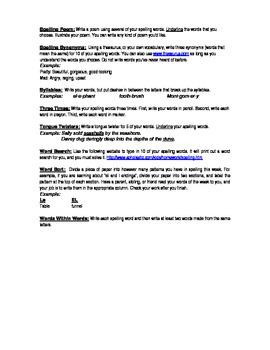 Spelling Choice Homework