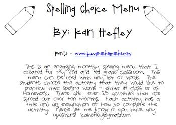 Spelling Choice Menu