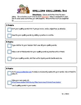 Spelling Choice Menu (2-3)