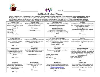 Spelling Choice Menu for 3rd Grade