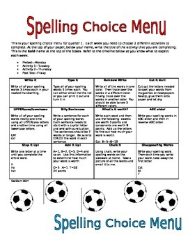 Spelling Choice Menus.