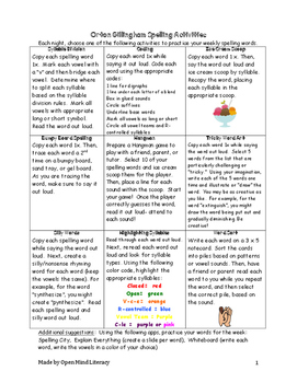 Spelling Choiceboard using the Orton Gillingham Approach