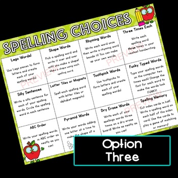 Spelling Choices for Homework or Centers!