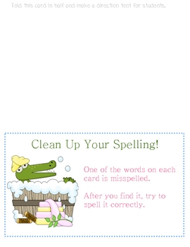 Spelling Clean Up Literacy Center