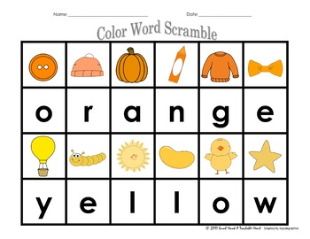 Spelling Color Words Printables & Activities