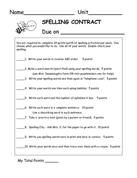 Spelling Contract - 1B