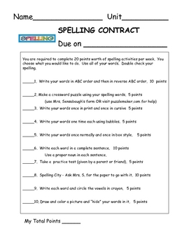 Spelling Contract - 1C