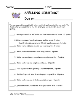 Spelling Contract - 1D