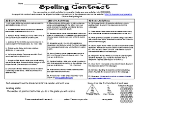 Spelling Contract - 3rd grade