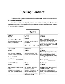 Spelling Contract 7