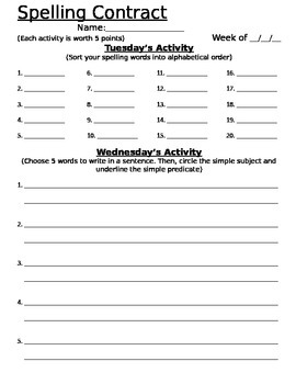 Spelling Contract - EDITABLE