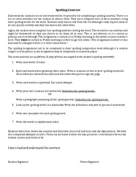 Spelling Contract Letter