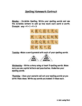 Spelling Contract With Activities