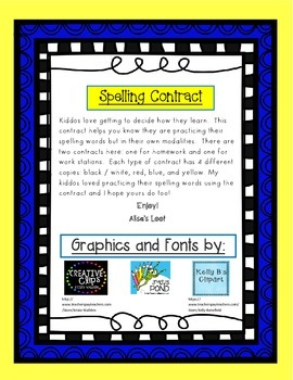 Spelling Contract for Homework or Work Station