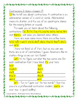 Spelling - Contractions Part 2 - 3rd Grade