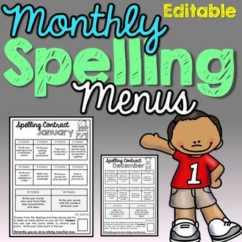Monthly Spelling Contracts (Editable with Certificates)