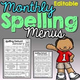Monthly Spelling Menus (Editable)
