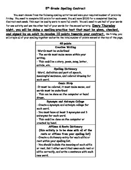 Spelling Contracts/Choice Boards