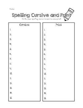 Spelling Cursive and Print