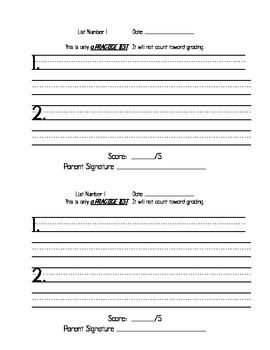 Spelling Dictation Sentence Test Booklet
