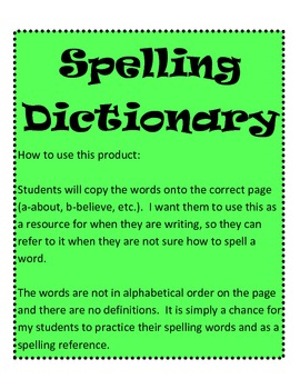 Spelling Dictionary 29 pages