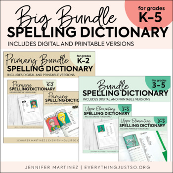 Spelling Dictionary Bundle | Personal Spelling Dictionary | Elementary