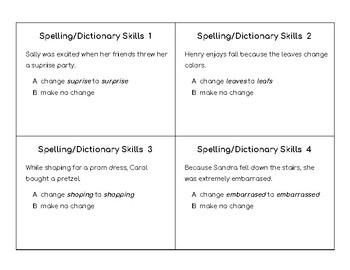 Spelling-Dictionary Skills Task Cards (STAAR)