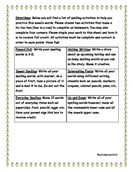 Spelling Differentiation Menus, Assignments and Activities