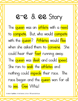 Spelling Digraph ee and Magic e e-e, u-e - 1st Grade