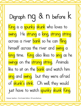 Spelling - Digraph ng and n before (k) - 1st Grade