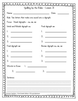 Spelling - Digraphs au, aw, and ew - 1st Grade