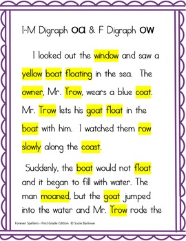 Spelling - Digraphs oa and ow - 1st Grade