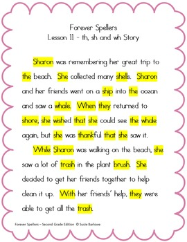 Spelling - Digraphs sh, th and Combination wh - 2nd Grade