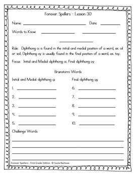 Spelling - Diphthongs oi and oy - 1st Grade