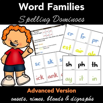 Word Families: Spelling Dominoes Activity - Advanced Version.
