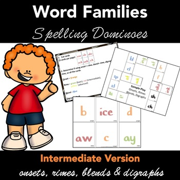 Spelling Dominoes Word Families  - INTERMEDIATE Version - - Just Cut and Play