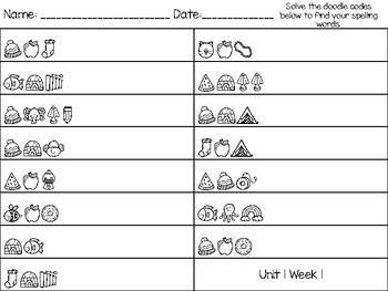 Spelling Doodle Codes for Wonders 2020 2nd Grade