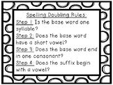 Spelling Doubling Rules Poster *Black and White Polka Dots!*