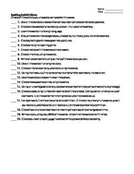 Spelling Enrichment Activities